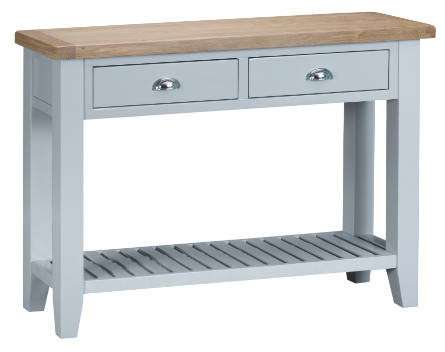 Pippa Grey/ White Painted Large Console Table With Baskets And Lime- Washed Oak Top