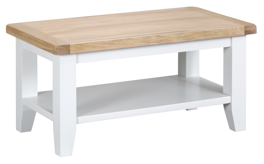 Pippa Grey/ White Painted Small Coffee Table With Lime- Washed Oak Top