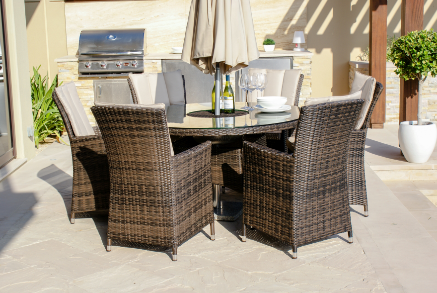 LA 6 Seat Round Dining Set With Ice Bucket