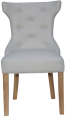 Winged Button Back Chair With Metal Ring- Natural