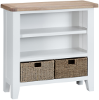 Pippa Painted Small Wide Bookcase With Lime- Washed Oak Top- White