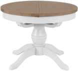 Pippa Grey/ White Painted 1.1 Round Butterfly Extending Table With Lime- Washed Oak Top