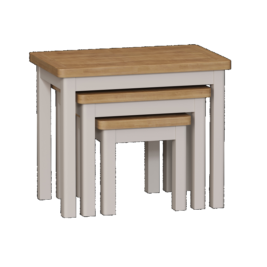 Isabella Painted Oak Nest Of 3 Tables