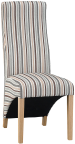 Wave Back Fabric Chair- Stripe Duck Egg Blue