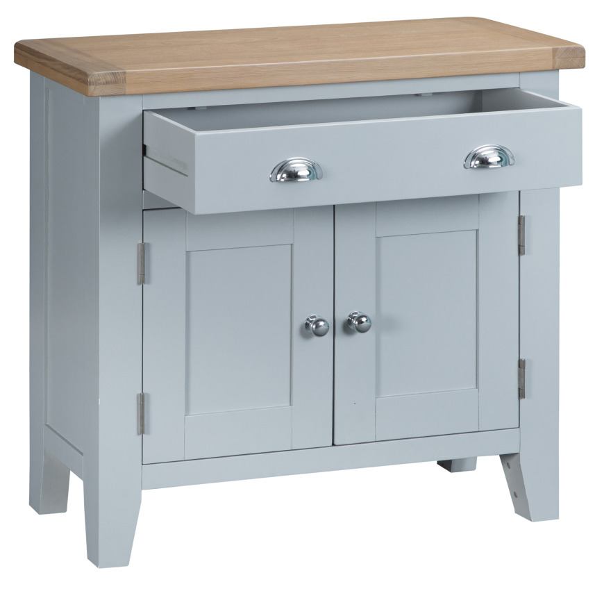 Pippa Grey/ White Painted Small Sideboard With Lime Washed Oak Top
