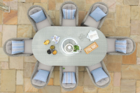 Oxford 8 Seat Oval Dining Set With Ice Bucket And Lazy Susan