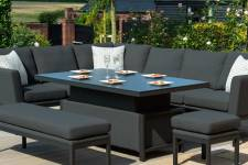 Pulse Rectangular Corner Dining Set With Rising Table- Charcoal