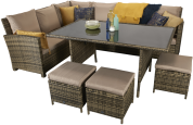 Chicago Corner Dining With High Table And Footstools- Brown