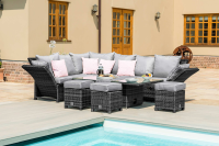Henley Reclining Sofa Set With Rising Table- Grey/ Brown