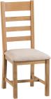 Belle  Oak Ladder Back Chair Fabric Seat