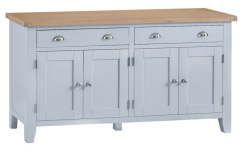 Pippa Painted 4 Door Sideboard With Lime- Washed Oak Top- Grey