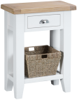 Pippa Painted Telephone Table And Basket With Lime- Washed Oak Top- White