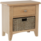 Rosie Oak 1 Drawer Unit With 1 Wicker Storage