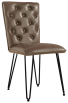 Studded Back Chair With Hairpin Legs- Brown