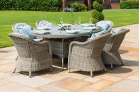 Oxford 6 Seat Oval Dining Set With Ice Bucket And Lazy Susan