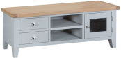 Pippa Painted Large TV Unit With Lime- Washed Oak Top- Grey