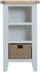 Pippa Grey/ White Painted Narrow Bookcase With Lime- Washed Oak Top