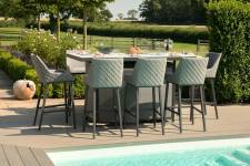 Regal 8 Seater Bar Set With Firepit Table- Flanelle