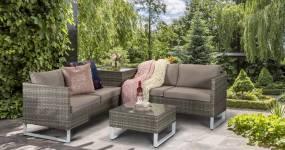 Lucy Corner Sofa Set With Storage Box (Corner)- Grey