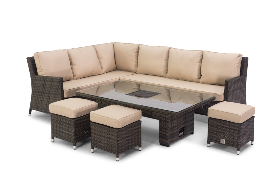 Barcelona Corner Dining Set With Rising Table And Ice ...