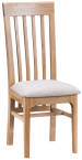 Freya Oak Framed Slat Back Chair With Fabric Seat