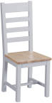 Ladder Back Chair Wooden Seat- Grey