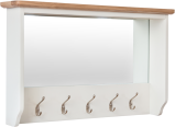 Rosie Painted Oak Hall Bench Top With Mirror- White