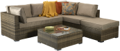 Savannah Corner Sofa With Footstool And Coffee Table- Brown