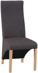 Wave Back Fabric Chair- Charcoal