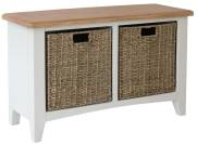 Rosie Painted Oak Hall Bench With Wicker Storage- White