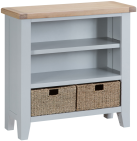 Pippa Painted Small Wide Bookcase With Lime- Washed Oak Top- Grey
