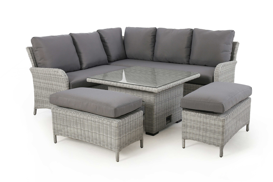 Ascot Grey Square Corner Dining With Rising Table