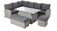 Ascot Grey Rectangular Corner Dining With Rising Table