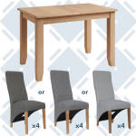 Rosie Oak 1.2 Extending Table With x4 Wave Back Fabric Chairs