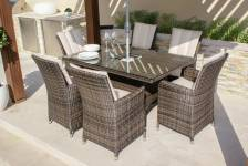 L.A. 6 Seat Rectangle Dining Set With Ice Bucket- Brown/Grey