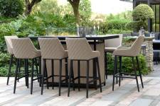 Regal 8 Seater Bar Set With Firepit Table- Taupe