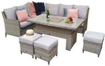 Montreal Corner Dining Set With Rising Table And Ice Bucket- Special Grey Weave