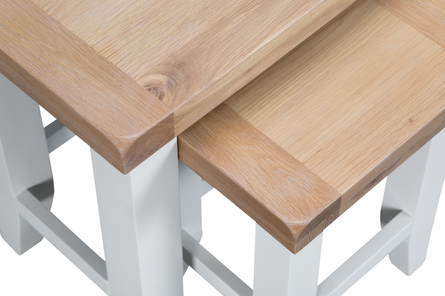 Pippa Grey/ White Painted Nest Of 2 Tables With Lime- Washed Oak Top