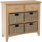 Rosie Oak 2 Drawer Unit With 4 Wicker Baskets