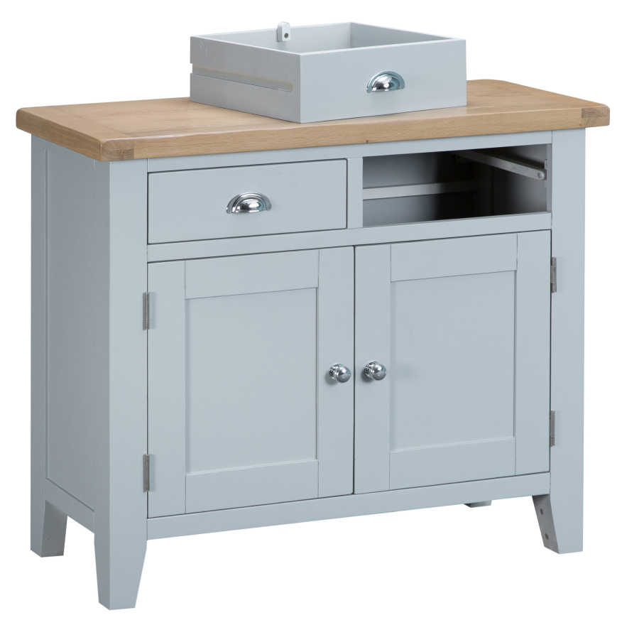 Pippa Grey/ White Painted 2 Door 2 Drawer Sideboard With Lime- Washed Oak Top