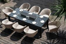 Ambition 8 Seater Set With Fire Pit Dining Table- Taupe