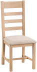Belle Lime- Washed Oak Ladder Back Chair Fabric Seat
