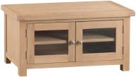 Belle Lime- Washed Oak Standard TV Unit With Glazed Doors
