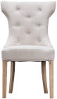 Winged Button Back Chair With Metal Ring- Beige