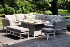 Pulse Rectangular Corner Dining Set With Firepit Table- Lead Chine