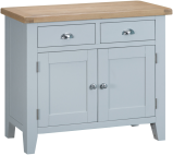 Pippa Painted 2 Door 2 Drawer Sideboard With Lime- Washed Oak Top- Grey
