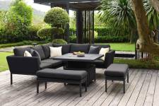 Pulse Square Corner Dining Set With Rising Table- Charcoal
