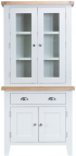 Pippa Grey/ White Painted Small Sideboard And Dresser Top With Lights COMBO With Lime- Washed Oak Top