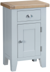 Pippa Painted Small Cupboard With Lime- Washed Oak Top- Grey