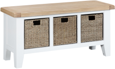 Pippa Painted Hall Bench With Baskets And Lime- Washed Oak Top- White